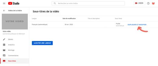Créer des sous-titres youtube